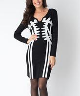 Yuka Paris Black & Cream Carla Notch Neck Dress