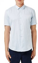 Topman Trim Fit Bengal Stripe Short Sleeve