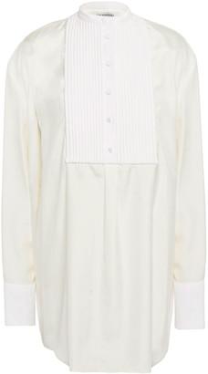 Valentino Paneled Cotton-pique And Silk Shirt