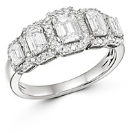 Bloomingdale's Emerald-Cut Diamond 5-Stone Ring in 14K White Gold, 1.5 ct. t.w. - 100% Exclusive