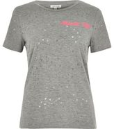 River Island Womens Grey print distressed T-shirt