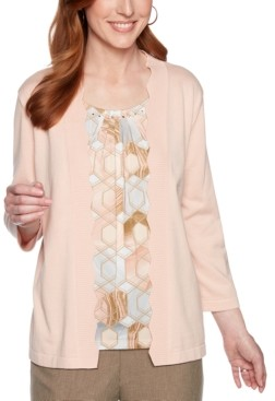 Alfred Dunner Petite Boardroom Layered-Look Printed Sweater