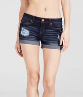 Dark Wash Destroyed Cuffed Denim Midi Shorts