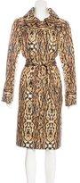 Oscar de la Renta Cheetah Print Belted Coat