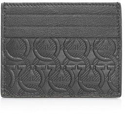 Salvatore Ferragamo Gancini Embossed Leather Card Case