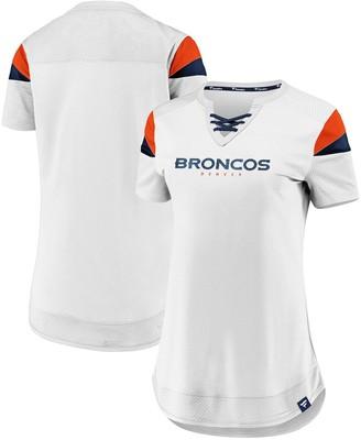 Women's NFL Pro Line by Fanatics Branded White Denver Broncos Draft Me Lace-Up T-Shirt