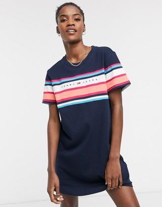 Tommy Jeans logo stripe t-shirt dress in blue
