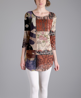 Lily Brown Floral Patchwork Scoop Neck Tunic - Plus Too