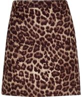 River Island Womens Brown leopard print mini skirt