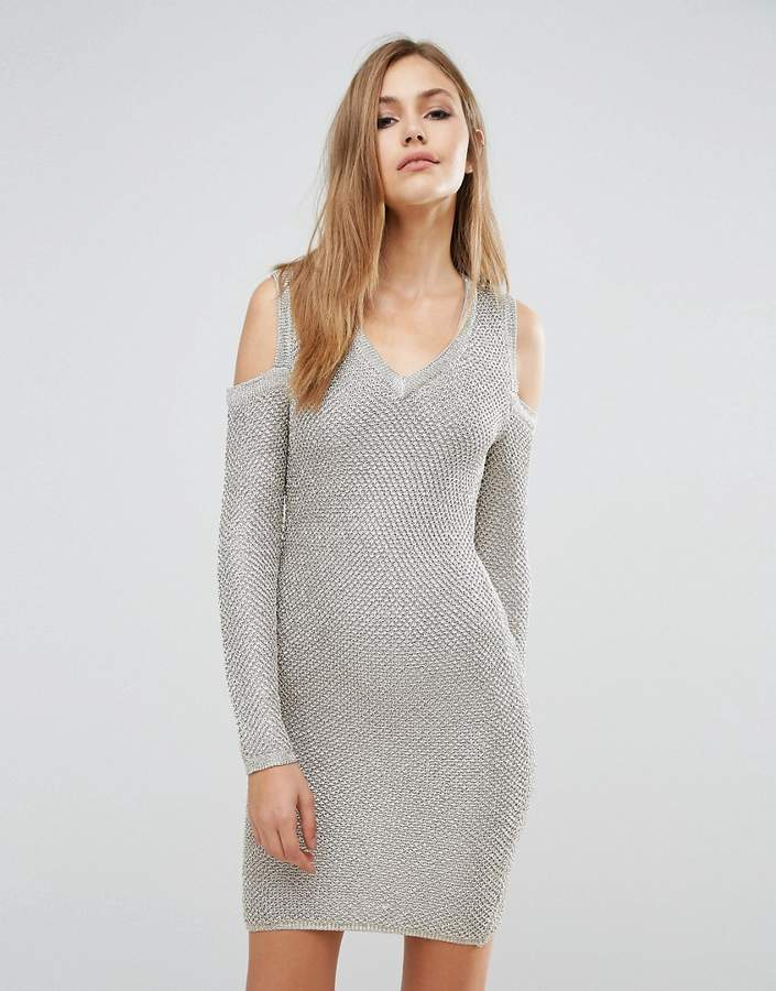 Wow Couture Long Sleeve Metallic Sweater Dress