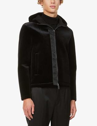 Emporio Armani Funnel-neck stretch-velvet hoody