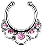 Nose Ring Bling Silver-Tone Fake Septum Clicker Clip On Non Piercing Nose Ring Hoop Pink