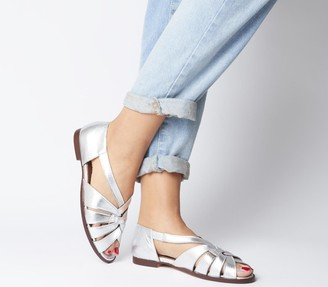 Office Field Woven Flats Silver Leather