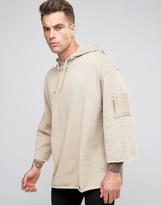 Asos Longline Oversized Sweatshirt With MA1 Pocket & 3/4 Sleeve