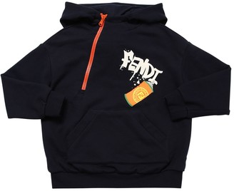 Fendi Logo Print Cotton Sweatshirt Hoodie
