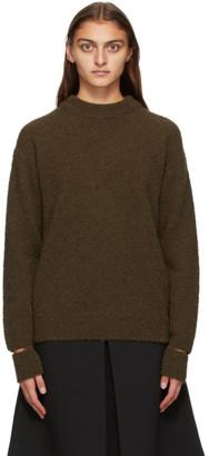 Tibi Khaki Alpaca Slit Cuff Sweater