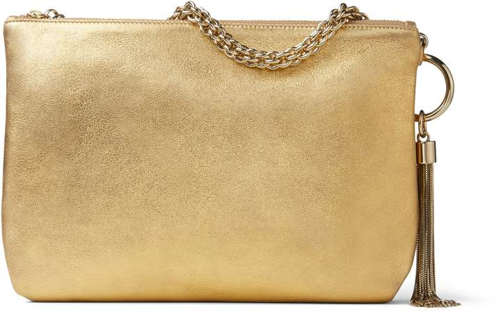Jimmy Choo CALLIE Gold Metallic Leather Clutch Bag With Chain Strap