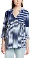 Mama Licious Mamalicious Women's Sinan Striped Maternity Long Sleeve Shirt,(Manufacturer Size:Medium)
