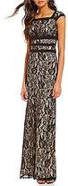 Sangria Square Neck Cap Sleeve Illusion Lace Mermaid Gown