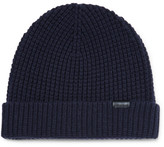 Burberry Waffle-knit Stretch Wool-blend Beanie - Navy