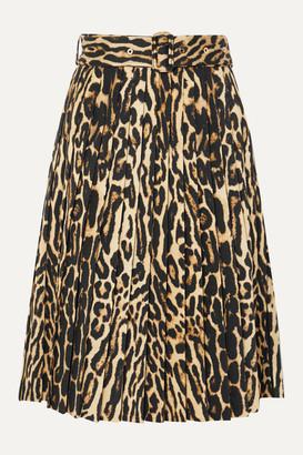 Burberry Belted Pleated Leopard-print Silk-blend Skirt - Camel