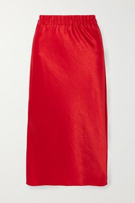 Theory Crinkled-satin Midi Skirt - Red