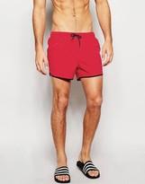 Asos Runner Swim Shorts In Red Short Length