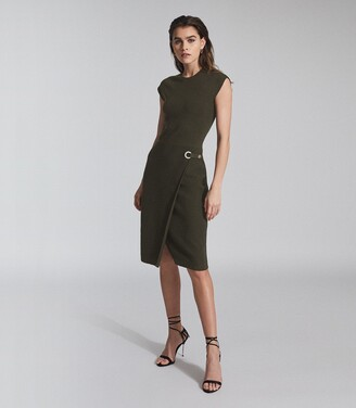 Reiss Thea - Knitted Bodycon Dress in Green