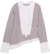 Carven Asymmetric Stripe-paneled Cotton Blouse - White