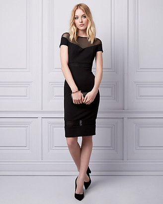 Le Château Knit Crepe Illusion Shift Dress