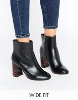 Asos ERIN Wide Fit Heel Detail Ankle Boots
