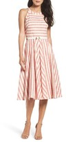 Eliza J Women's Stripe Fit & Flare Midi Dress