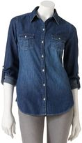So ® chambray button-front top - juniors