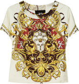 D&G Embroidered printed silk-twill top