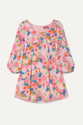 STAUD Juniper Printed Crepe De Chine Mini Dress - Pink