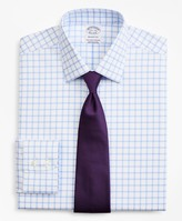 Brooks Brothers Stretch Regent Fitted Dress Shirt, Non-Iron Twill Ainsley Collar Grid Check