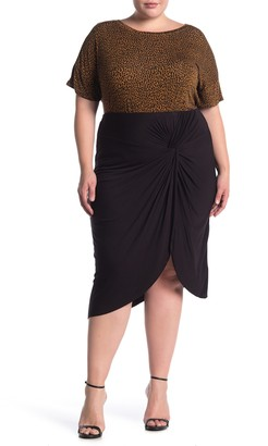 Socialite Twist Front Tulip Hem Knit Midi Skirt (Plus Size)