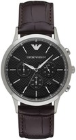 Emporio Armani Renato Stainless Steel Brown Leather Strap Chronograph
