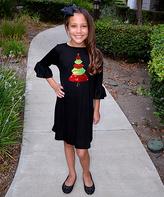 Beary Basics Black Christmas Tree Bell-Sleeve Tunic Dress - Toddler & Girls