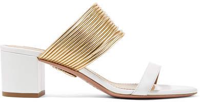 Aquazzura Rendez Vous Leather Sandals - White