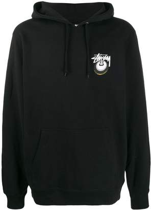 Stussy eight ball logo print hoodie