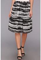 Calvin Klein Printed Pinktuck Polyester Chiffon Skirt