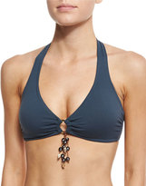 Letarte Tassel-Ring Halter Swim Top, Blue Graphite