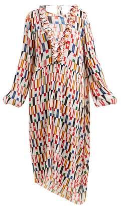 Balenciaga Ruffled Flag-print Faille Dress - Womens - White Multi