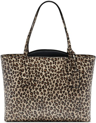 Sole Society Women's Beryl Tote Vegan Leather Black Leopard Combo From