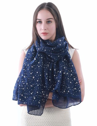 Lina & Lily Silver Gold Glitters Shimmer Foil Stars Women Scarf Shawl Wrap (Black (silver stars))