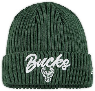 New Era Men's Hunter Green Milwaukee Bucks Draft On The Court Cuffed Knit Hat