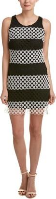 Taylor Dresses Women's Positive Negitve Stripe Oepn Neck Sheath