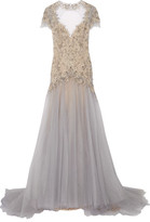 Marchesa Embellished Embroidered Tulle Gown - Stone