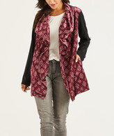 Suzanne Betro Weekend Women's Open Cardigans 101BURGUNDY - Black & Burgundy Geometric Jacquard Drape-Front Cardigan - Women & Plus